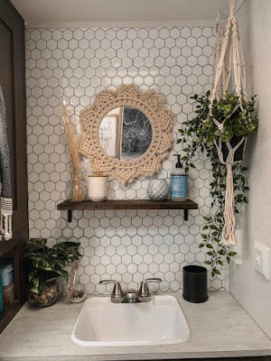 Remodeled RV Bathroom using Tic Tac Tiles