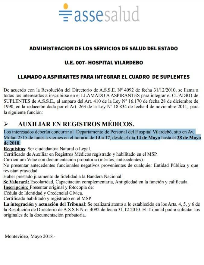Auxiliares de Registros Médicos 2018 Asse