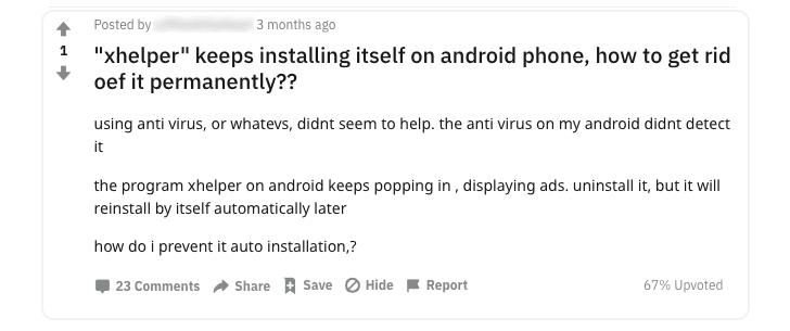 remove Xhelper android malware