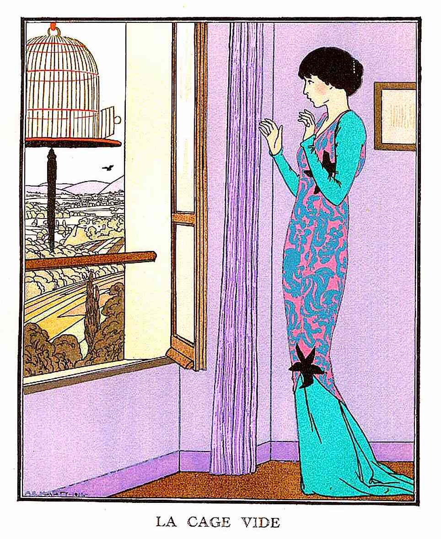 an A.E. Marty fashion illustration, a pet bird escapes