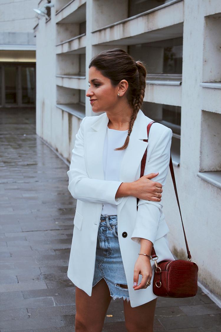 look americana blanca falda vaquera moda