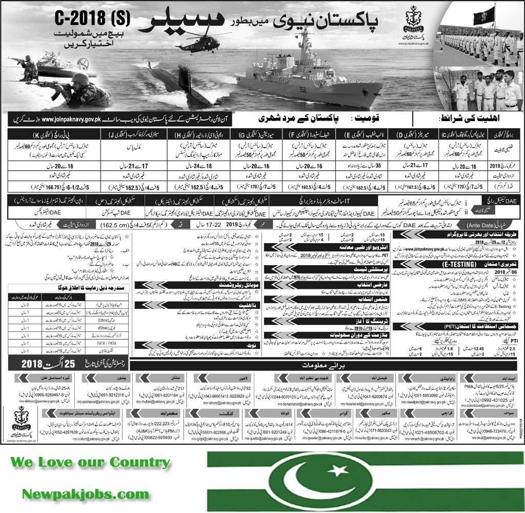 Now Join Paksktan Army as Sailor 12 August 2018, Latest Jobs www.joinpaknavy.gov.pk
