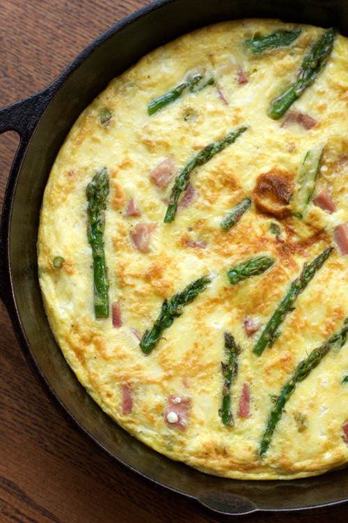 Asparagus, Ham, and Goat Cheese Frittata || A Less Processed Life
