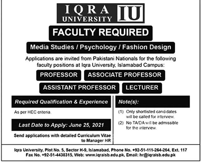 Universities Jobs-Iqra University Jobs- Universities Jobs June 2021
