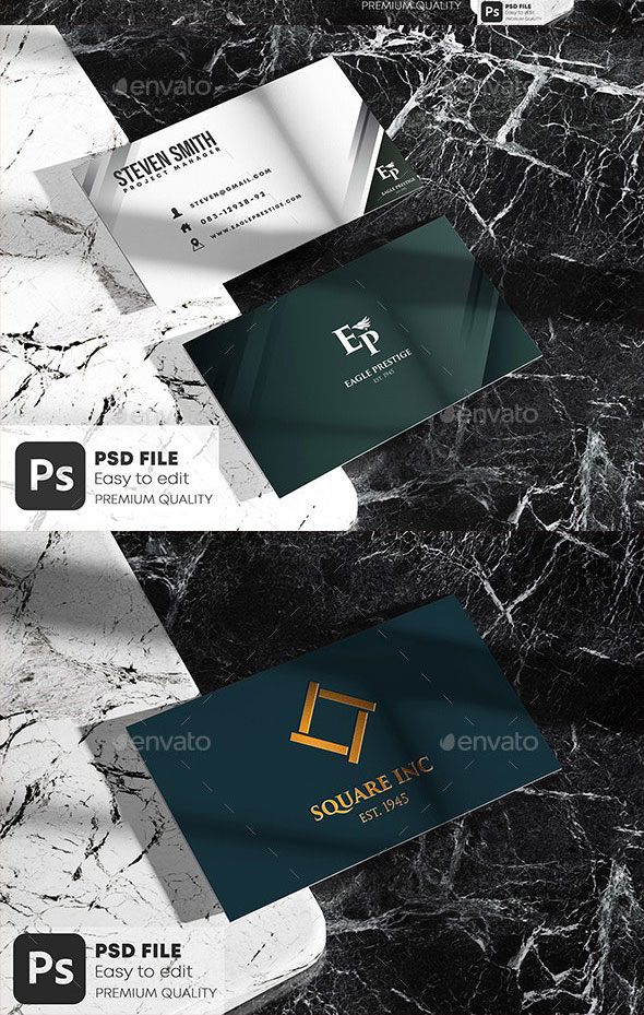 GraphicRiver Business Card on Marble Stone Mockup Set 28404056