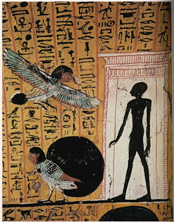 The Ba soul existing the tomb on the day of the shadow. Thebes Tomb TT 290. Wikipedia
