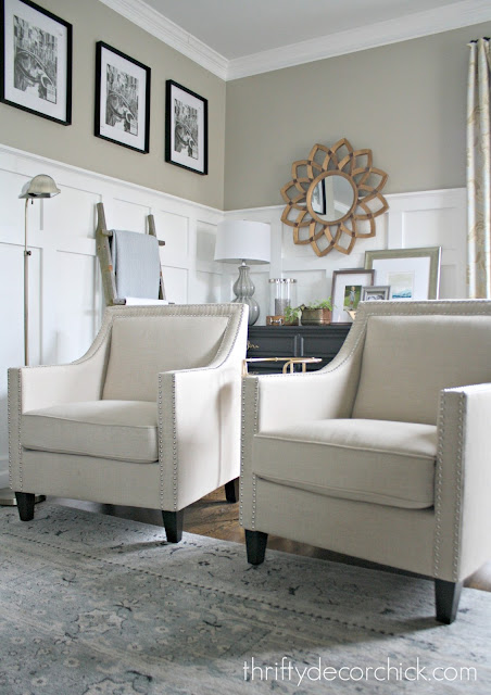 Matching arm chairs in family room