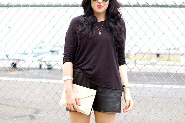 Vancouver fashion blogger,Valentino Rockstud flats, Topshop leather shorts and shirt and flash frame aviators.