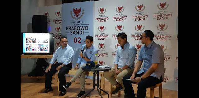 Penerimaan Dana Kampanye Prabowo-Sandi Sudah Mencapai Rp 41,9 Miliar