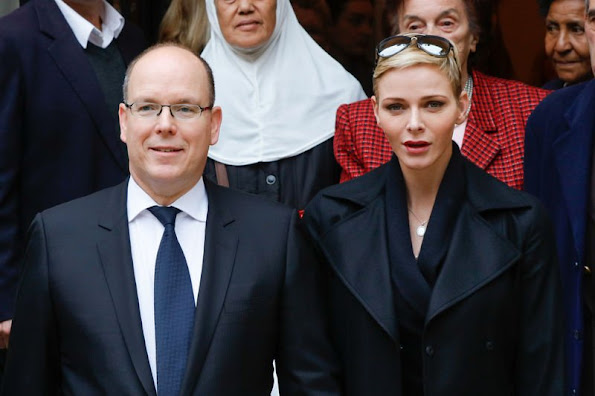 Prince Albert II of Monaco and Princess Charlene of Monaco attends parcels distribution at the Monaco Red Cross headquarters