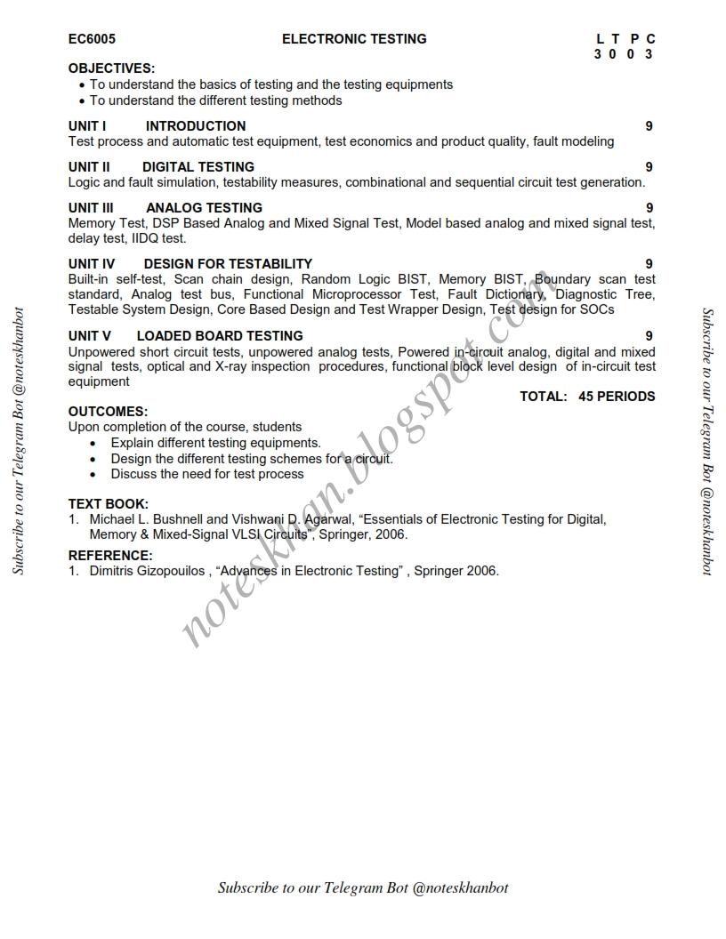 Ec6005 Electronic Testing Syllabus Semester Vii Ece Be Anna Of Vlsi Circuit University Regulation 2013