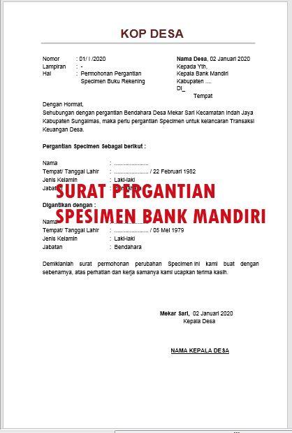 Contoh Surat Permohonan Pergantian Spesimen Bank Mandiri Terbaru