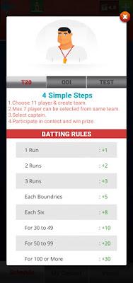 Rules of fantasy cricket in BigCash app