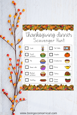 Free Thanksgiving scavenger hunt for kids