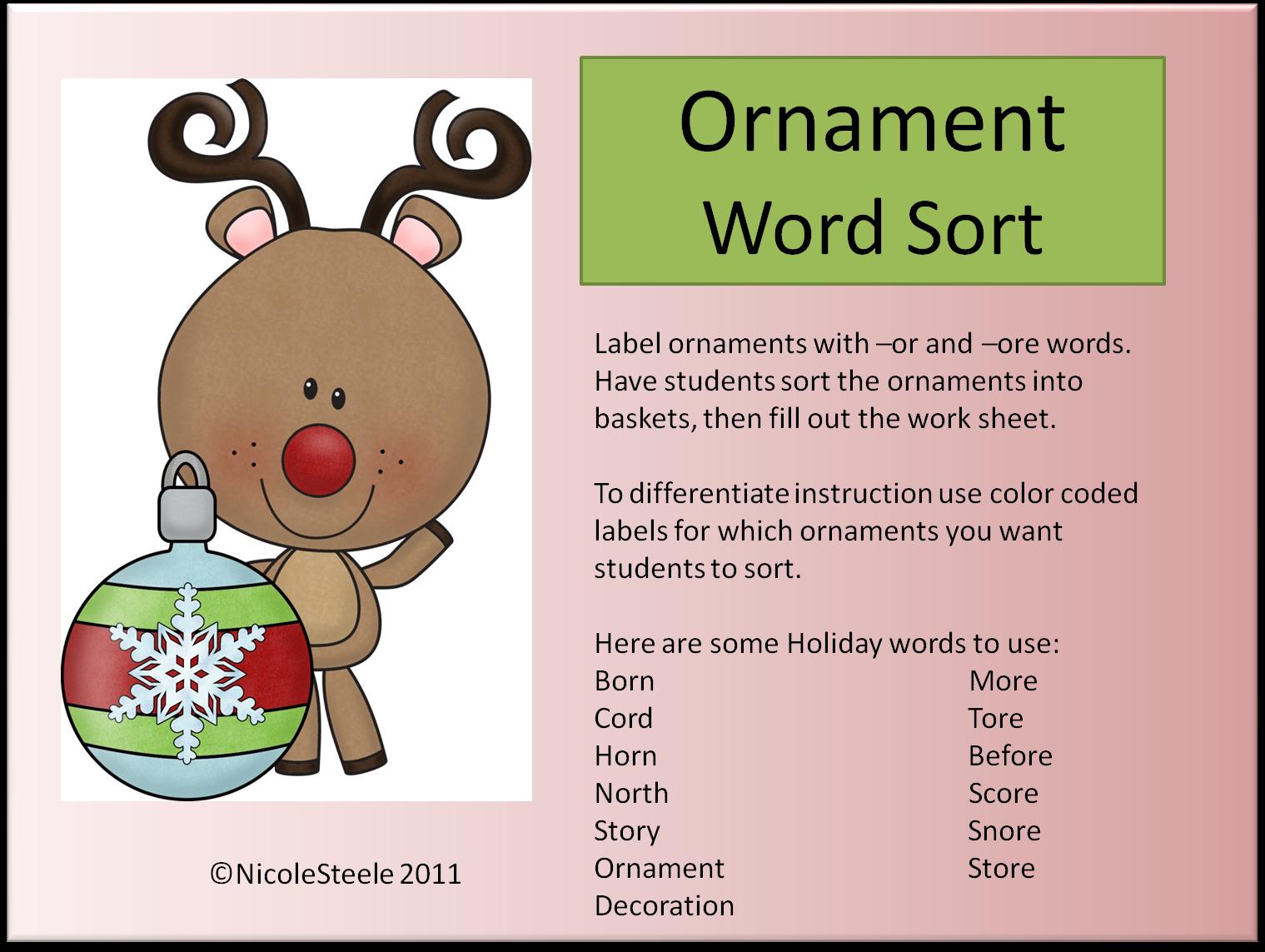 Steele Teaching Freebie Ornament Word Sort Or Ore Words
