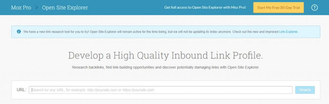 MOZ Open Site Homepage
