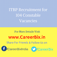 ITBP Recruitment for 104 Constable Vacancies