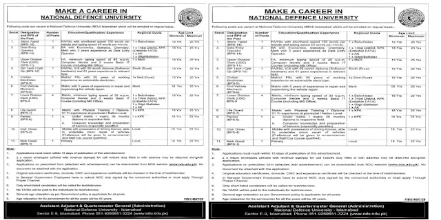 National Defense University NDU Jobs 2021 For Steno-typist,Data Entry Operator, Upper Division Clerk & more