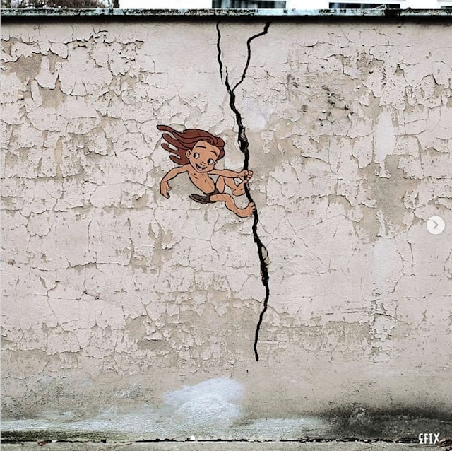 EFIX cartoon character street art - Crack Climb
