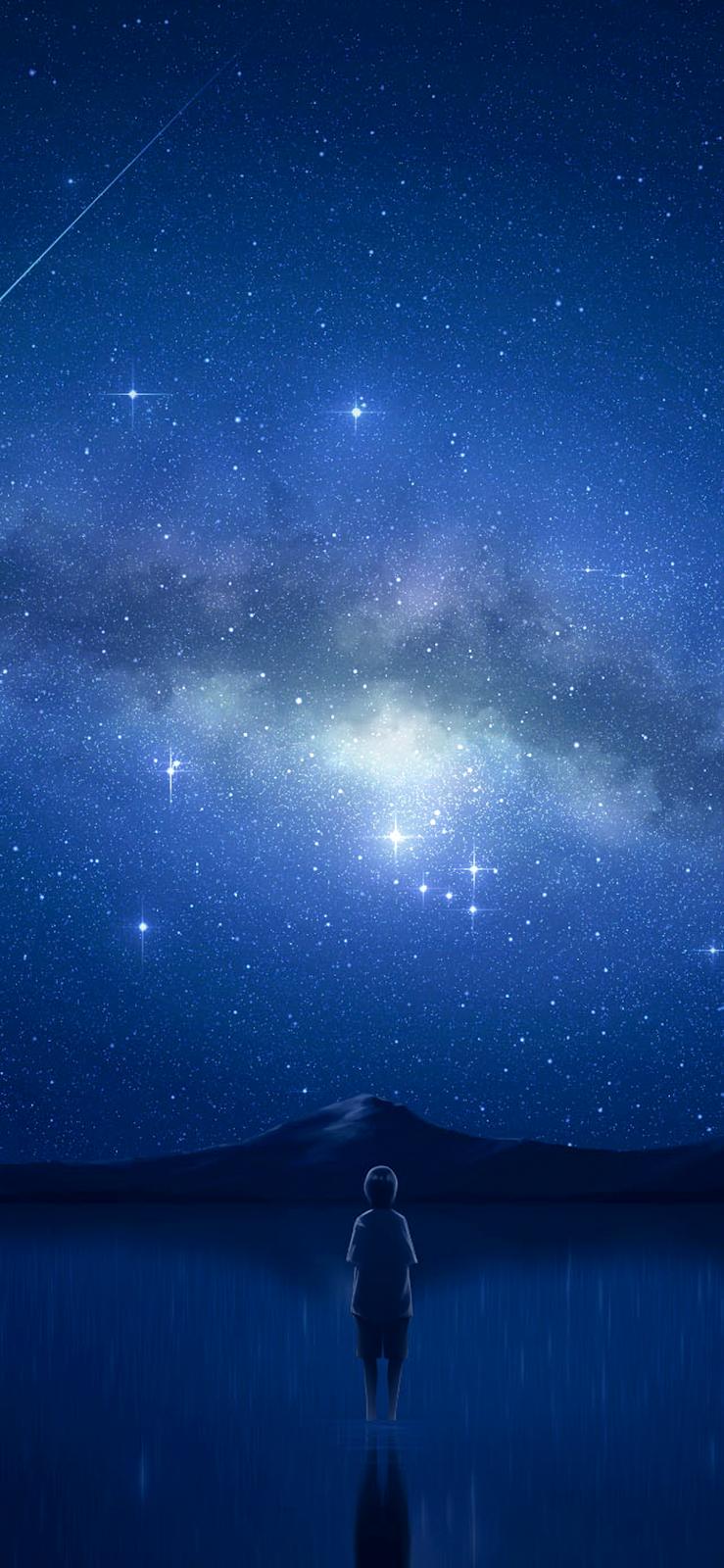 Hình nền dưới bầu trời đầy sao cho iPhone XSMAX / iPhone 11 Pro Max