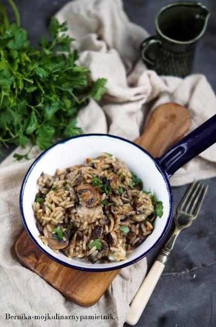 ryz, ser, risotto, pieczarki, obiad, wegetarianski, bernika, kulinarny pamietnik