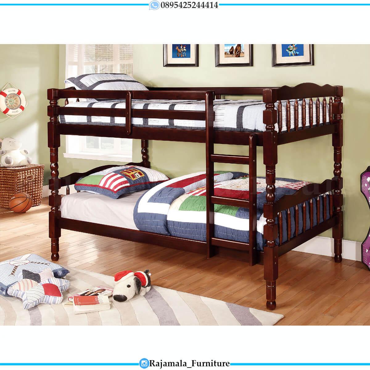 Tempat Tidur Tingkat Anak Jati Natural Salak Brown Klasik RM-0638