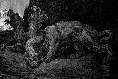 Cérbero, ilustração de Gustave Doré para a Divina Comédia. #PraCegoVer
