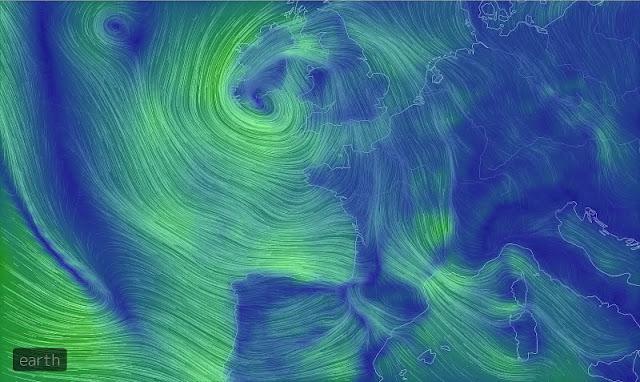 Les vents sur l'Europe de l'Ouest vu par earth.nullschool.net