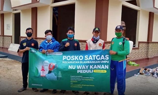 Cegah Covid19, Organisasi Pemuda NU di Blambangan Umpu Lakukan Penyemprotan Disinfektan