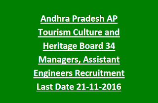 Andhra Pradesh AP Tourism Culture and Heritage Board 34 Managers, Assistant Engineers Govt Jobs Recruitment Last Date 21-11-2016