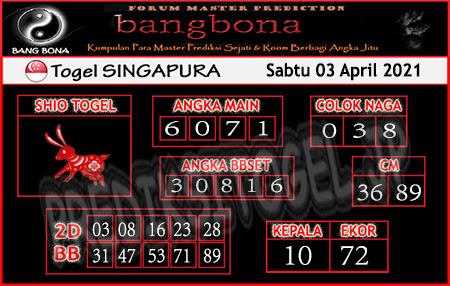 Prediksi Bangbona SGP Sabtu 03 April 2021