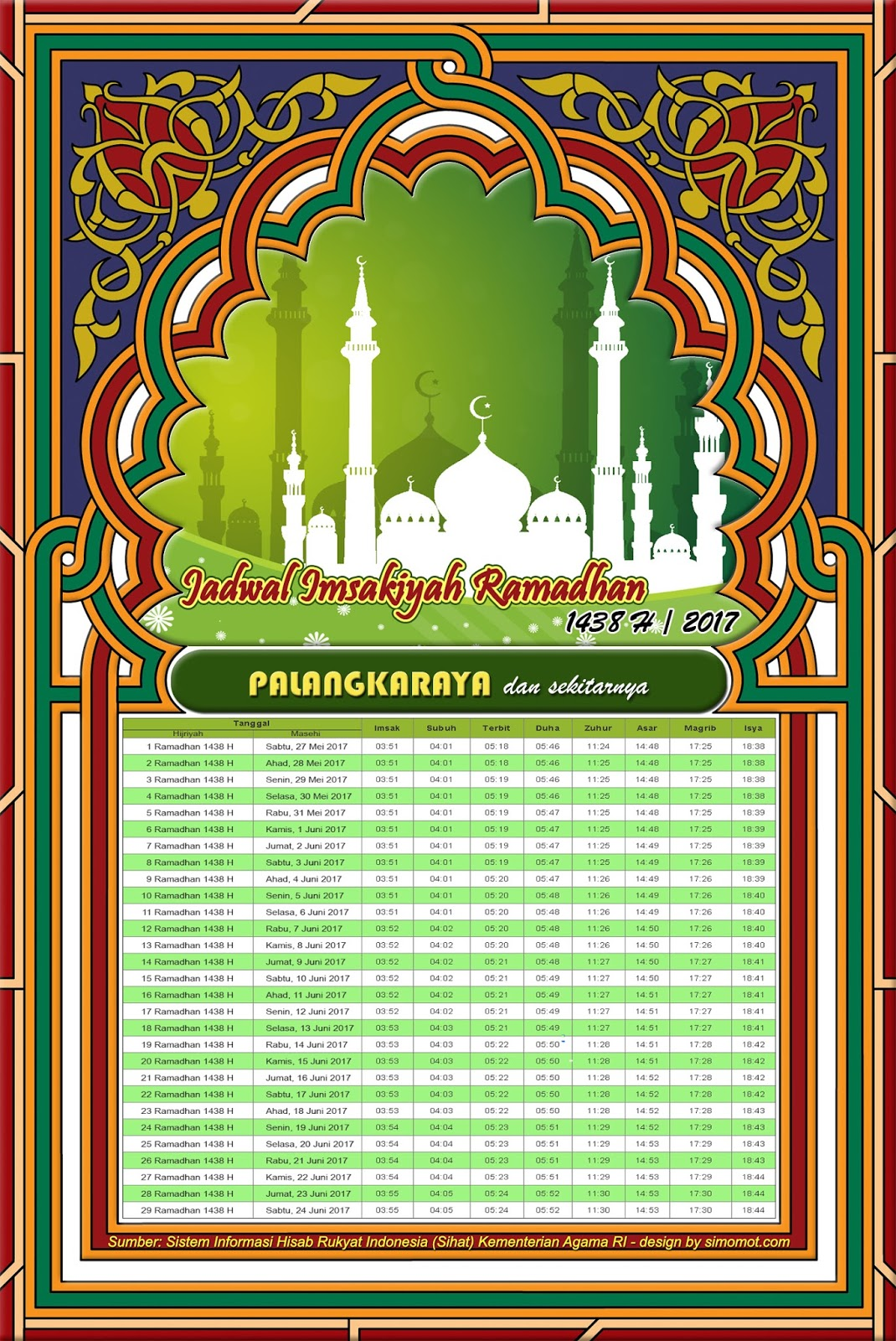 Jadwal Imsakiyah Palangkaraya 2017 1438 H