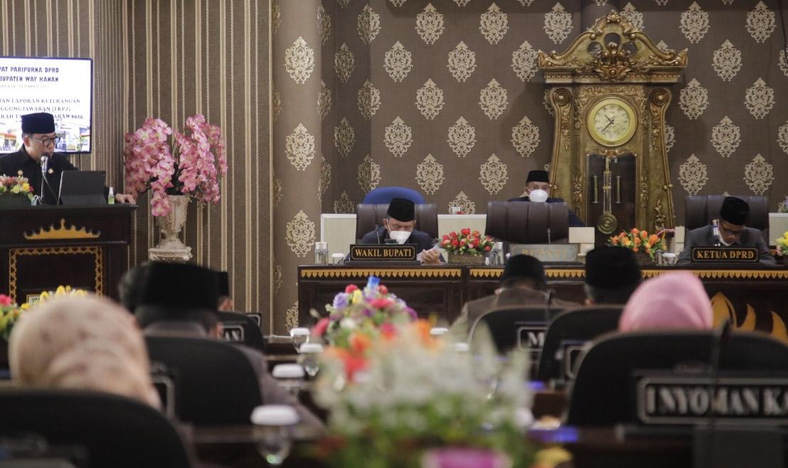 DPRD Waykanan Menggelar Sidang Paripurna LKPJ Bupati TA 2020