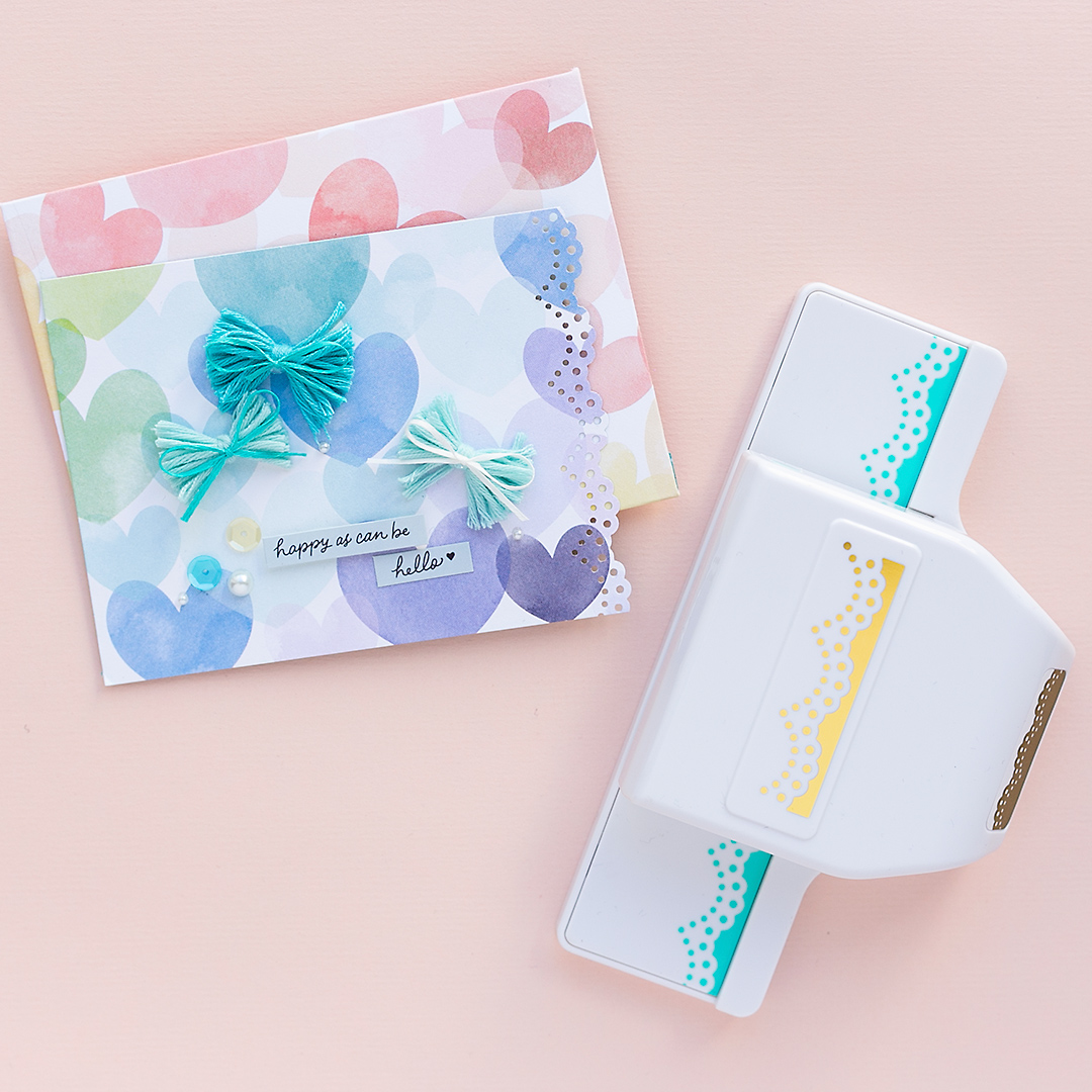 Border Punch by WRMK next to a card with hearts and bows