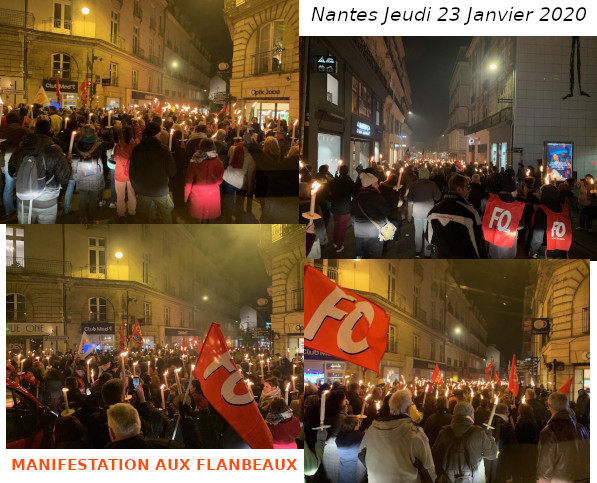 """NOUVELLE """"MANIFESTATION AUX FLAMBEAUX"""" CONTRE LA RÉFORME DES RETRAITES"""