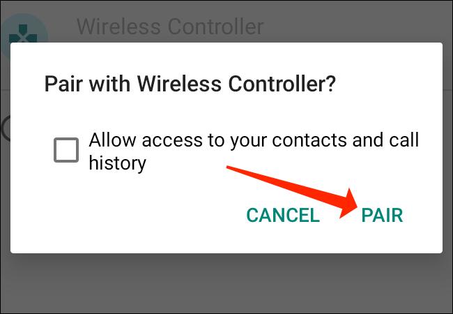 """انقر على """"إقران"""" لتوصيل وحدة تحكم PS5 بهاتف Android."""