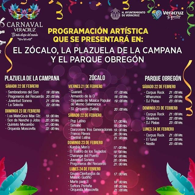 programa artístico carnaval veracruz 2020