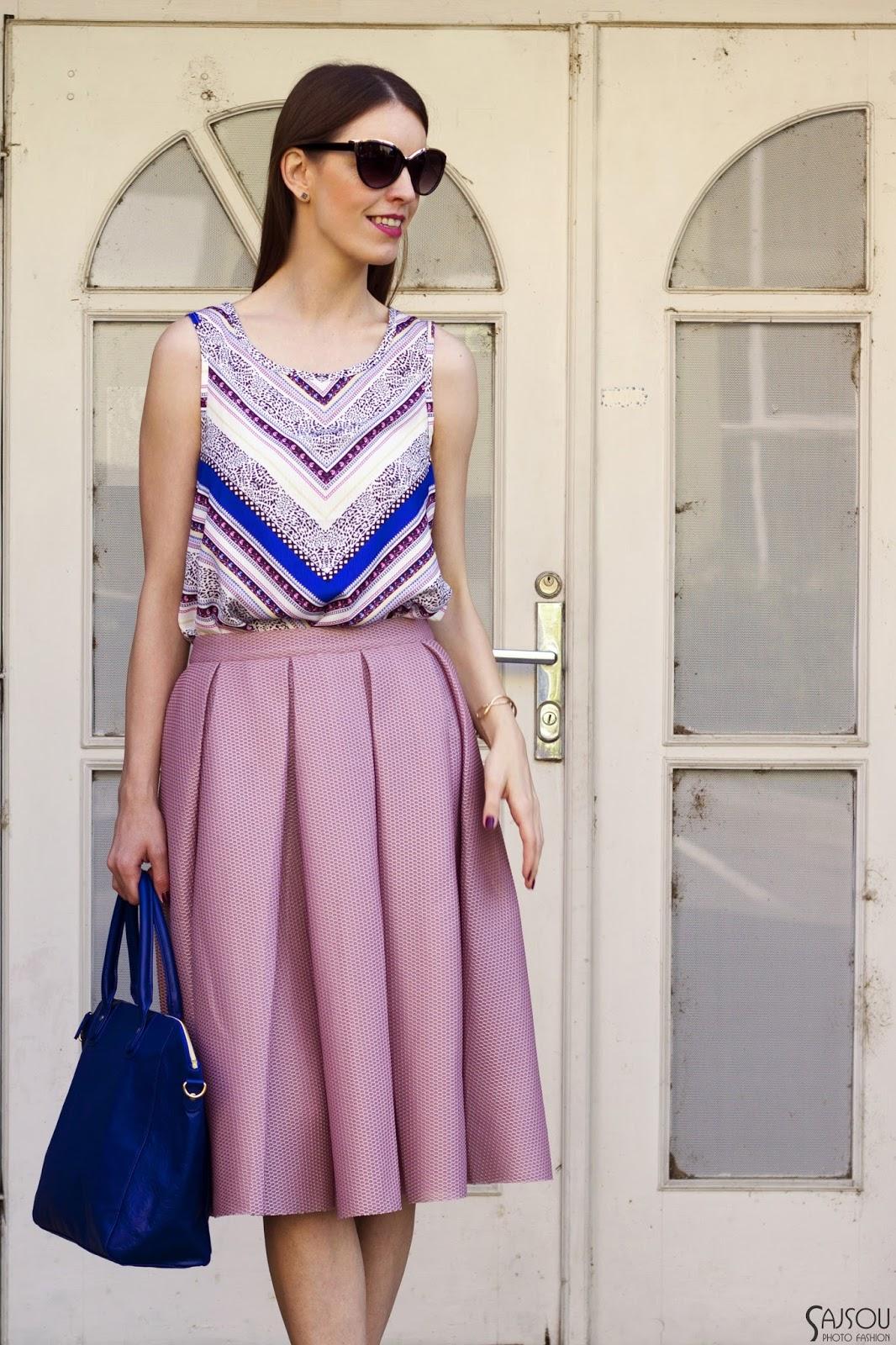 old pink midi skirt & blue details