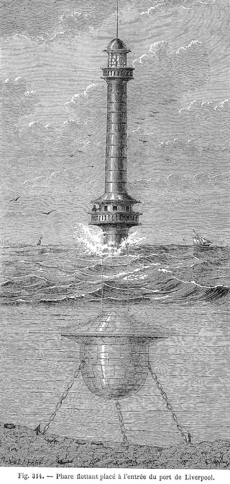 an 1867 lighthouse at Liverpool England, chained and floating