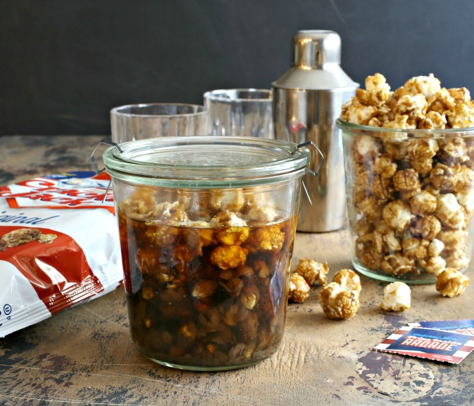 Recipe for a cocktail with butterscotch liqueur, milk and Cracker Jack infused bourbon.