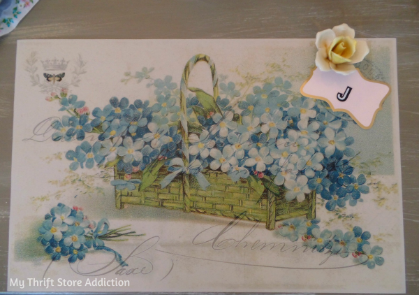 Vintage Postcard Inspired Spring Tablescape mythriftstoreaddiction Spring table setting created with thrifted vintage milk glass and postcard inspired placemats