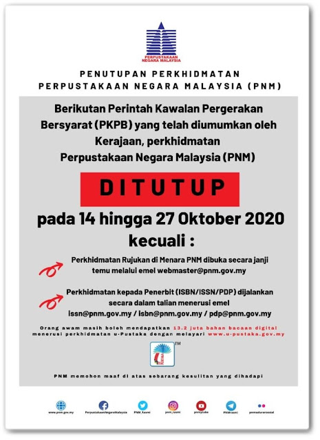 Notis penutupan perkhidmatan PNM bermula 14-27 Oktober 2020