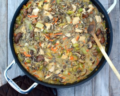 Turkey Wild Rice Casserole ♥ KitchenParade.com, my long-time go-to wild rice casserole, perfect with after-Thanksgiving leftover turkey.