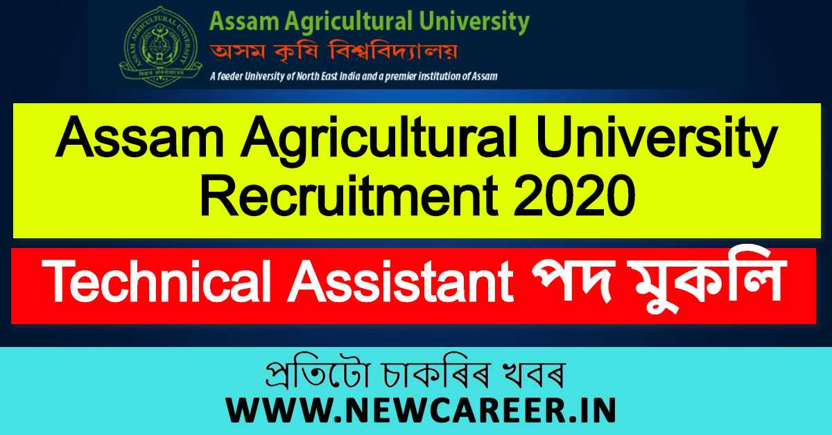 AAU Recruitment 2020, Jorhat : Apply For Technical Assistant Vacancy