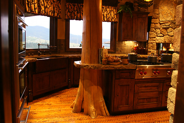 Wooden cabinets for rustic kitchen