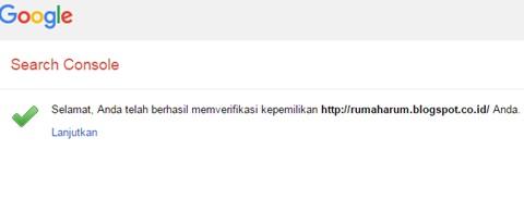 Verifikasi Kode Google Webmaster Tools telah Berhasil