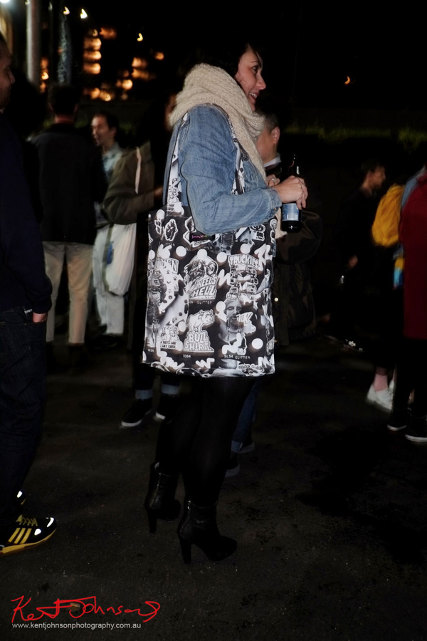 Chunky scarf, car motif tote, denim jacket black tights and ankle boots, Street Fashion Sydney.