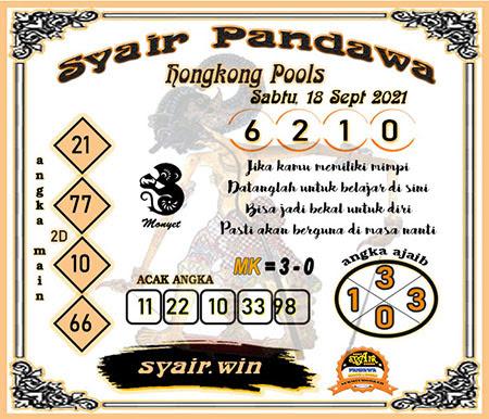 Syair Pandawa HK Sabtu 18-09-2021