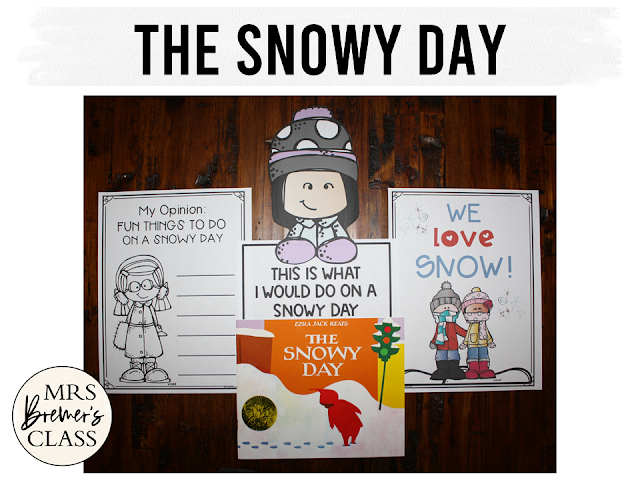 The Snowy Day book study companion activities, class book, craftivity for K-1