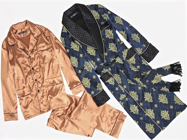 Mens silk jacquard dressing gown quilted robe paisley gold blue